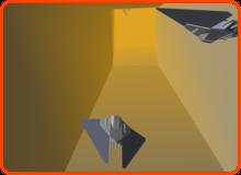 Konzeptgrafik, die Raumschiffe beim Rennen durch einen Tunnel zeigt